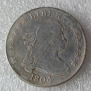 عملات الولايات المتحدة 1804 رايات التمثال النحاس الفضة مطلي الدولار نسخة عملة