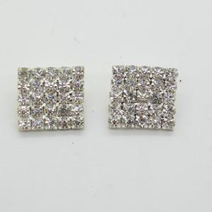 50 unids 16x16mm Square Rhinestone Adorno Botones FlatBack DIY Crystal Buckles Precio de Fábrica