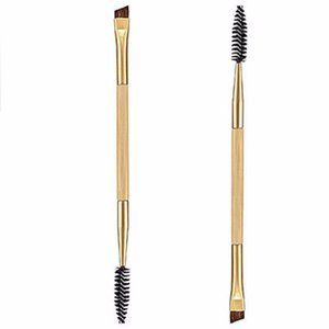 Wholesale-latest hot 1PCS  tools for bamboo handle double eyebrow brush + eyebrow comb and  brush for free shipping