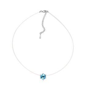 Nuevo collar de cadena fina transparente no alérgica invisible con elementos de Swarovski joyas de cristal para regalo de Navidad