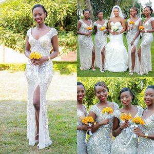 Блеск Блестки Арабская Страна Сплит Платья Невесты Длинные Формальные Женщины Пляж Африканских Bridemaids Свадебные Платья Партии Гостя Спинки