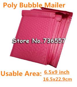Vente en gros - Rose Redish 6.5X9inch / 165X229MM Espace utilisable Enveloppes à bulles de bulles de poly 18.5 * 23cm sac de courrier rembourré Auto-étanchéité 100pcs