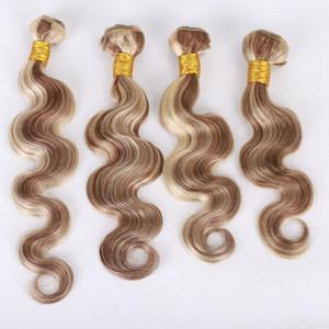 Paquetes de cabello humano de la Virgen de Malasia 4 piezas Mezclar color de piano # 8 # 613 Trama de cabello de la onda corporal Extensiones de cabello medio marrón y rubio 10-30 pulgadas