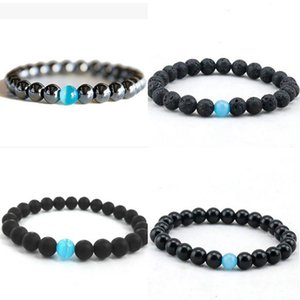 Fashion Unisex 8mm Natural Lava Stone Beaded Strands Bracelets Lucky Jewelry For Women Men Yoga Charm