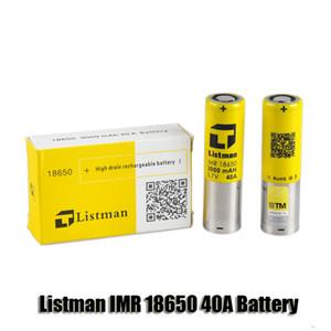100% Original Listman IMR 18650 3000 mAh 40A 3.7 V Alta Batería Recargable de Drenaje para 510 roscas Box Mod