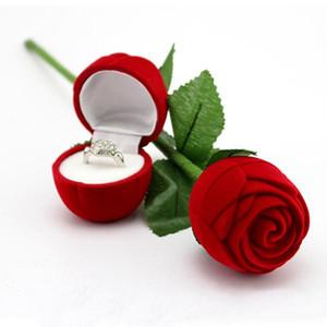 Rose roja romántica de terciopelo de la flor sostenedor del anillo de bodas pendientes caja de presentación colgantes caja de regalo de la joyería día de san valentín regalos de cumpleaños