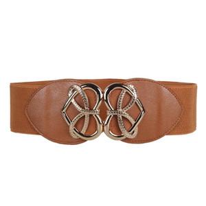 Wholesale- women belt heart imitation leather Fashion Decorative Elastic Waistband Elastic Wide Belt Stretchy solid match Dress Tops