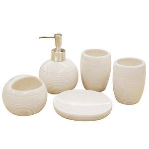 Bad Badaccessoires Keramik-Badezimmer-Sets 1 Emulsionsflasche + 1 Seifenschale + 2 Tasse + 1 Zahnbürstenhalter Hochzeitsdekoration