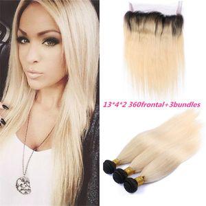 Блондинка темные корни 360 кружева фронтальная закрытие с пучками Малайзийских прямые волосы 3 шт. С 360 градусов кружева группа фронтальная # 1B/613 Ombre волос