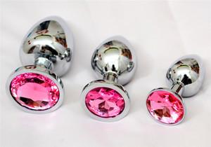 Stainless Steel Metal Anal Plug Booty Beads with Crystal Jewelry Adult Sex Toys Each sets Include Small , Medium and Large