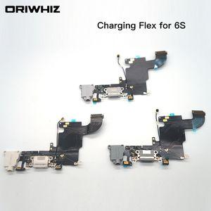 Para iPhone 6s 6s Plus USB Dock Cargador para auriculares Puerto de audio Cable flexible Repuesto Parte Blanco Negro Color puede mezclar orden