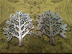 9pcs дерева Подвеска, античная Тибетский Серебряный тон Extra Large и красивая Деталь филигрань мир Дерево Шарм Подвеска 58x51mm