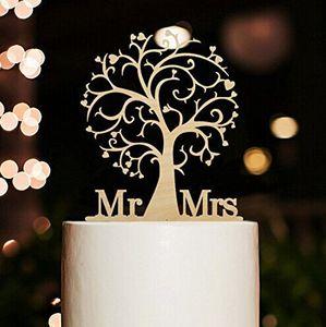 All'ingrosso Mr Mrs. e Tree Style Cake Topper con il tuo cognome Cake topper acrilico per matrimonio / anniversario / festa di compleanno