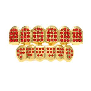 Nueva Glod plateado heló hacia fuera Rhinestones rojos Dientes de Hip Hop para la boca GRILLZ Caps Set Top Grill dientes joyería Bottom
