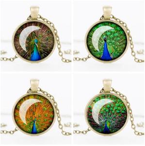 Livraison gratuite Rétro temps de plume de paon bijou pendentif collier bijoux chaud WFN344 (avec chaîne) mélanger l'ordre 20 pièces beaucoup