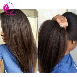 Tam Dantel İnsan Saç Peruk Bakire Perulu Saç sapıkça Düz Dantel Ön Peruk Siyah Kadınlar Için Bebek Saç Freeship
