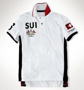 Online Schweiz SUI UAE Männer Polohemd der neue Sommer beiläufige Hemden Polo der Baumwollmänner Swiss United States gedruckt