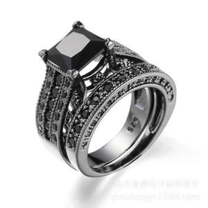 Vintage Lovers Black Diamonique chapado en oro anillo de dedo de la boda Set Sz 6-10 regalo