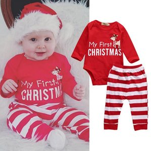 0-24months MY First Christmas Oufits Baby Girl Boy Bodysuit + Pant Long Striped 2Pcs Baby Boy Girl clothes