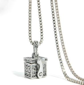 Vintage antik Silber Box Anhänger Halskette kann Medaillon Schatz Box magische Box Charm Halskette Kette öffnen
