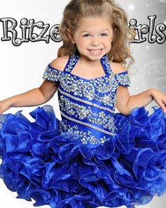 Carino Royal Blue Cupcake Toddler Kids Girls Pageant Abiti Ball Gown Off Shoulder Beaded Organza Mini Short Girl Dresses per Matrimoni