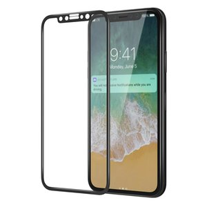 4D Full Curved Tempered Glass Para iPhone X Protector de pantalla película protectora 9H Borde curvado galvanizado para iPhone X 8 7 6Con paquete