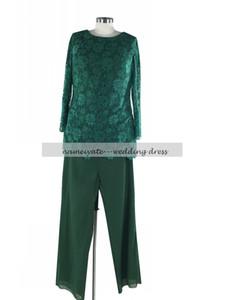 Lentejuelas de manga larga de encaje en gasa verde oscuro, Split madre de la novia pantalón trajes gratis dal
