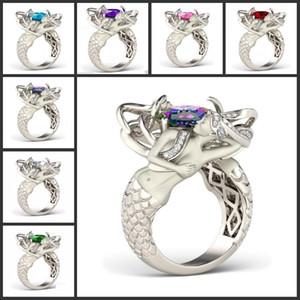 Dimensione 5-10 Mystic Rainbow Topaz Colorful CZ Diamond 925 Sterling Silver Charme Mermaid Band Ring speciale regalo Gioielli di design unico