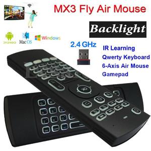 MX3 Backlight Teclado Sem Fio Com Aprendizagem IR 2.4G Controle Remoto Sem Fio Fly Air Mouse Retroiluminado Para Android Box TV PC i8 T3