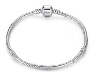3 ملليمتر 16-23 سنتيمتر 925 الفضة مطلي سوار سلسلة ثعبان مع قفل برميل صالح الأوروبي الخرز باندورا أساور diy