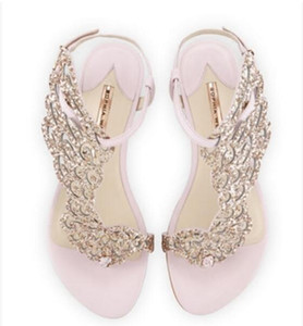 2017 сексуальные женщины золото горный хрусталь сандалии Гладиатор сандалии плоский каблук крылья сандалии свадебные туфли блеск партия обуви бабочка обувь
