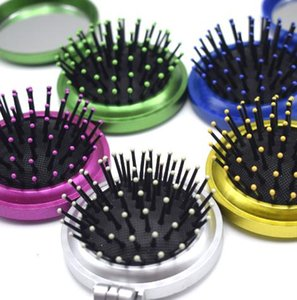 Makeup New Girls Portable Mini Folding Comb Airbag Massage Round Travel Hair brush With Mirror Cute Round Hair