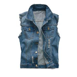 Koreanische Männer Jeans-Weste zerrissene Denim-Jacke Slim Fit ärmellos 2018 Sommer-neue Art Jeans männlicher Mantel 6XL