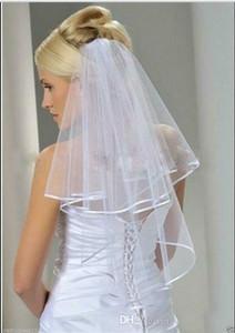 Im Lager Tulle Elfenbein-weißen Brautschleier mit Kamm Ellenbogen Länge zwei Schicht-Band-Rand-Brautschleier Kopfbedeckungen Hochzeit Zubehör auf Lager