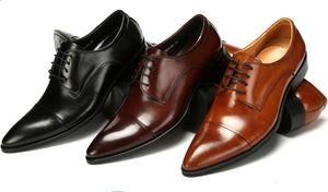 Moda negro / marrón tan / marrón derby zapatos para hombres zapatos de boda zapatos de cuero genuino de negocios