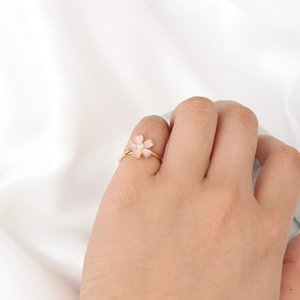 Fresh and delicate art of open drops of pink cherry pearl ring wholesale free shipping