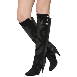 European Fashions Double Buckle Thigh-High Booties Woman Winter Black Patchwork Appliques Thin Leg BootysMotorcycle Boots Big Size 42