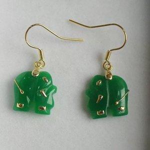 Set GP Set scolpito Giada / Red Natural Elephant Pendant Jade Green Orecchini Collana 14K QKWSV