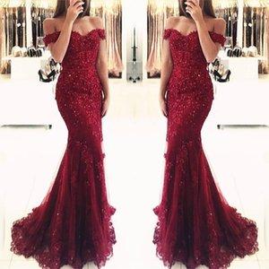 Sereia Red Robe De Soirée 2019 Sexy Vestidos de Baile Retro Tiers Rendas Tule com Contas Apliques Longos Formal Vestidos de Noite BA3809