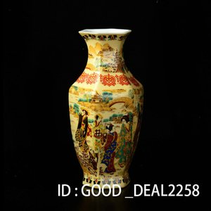 Collezione Folk Art Cinese Famille Rose Vaso in porcellana dipinto a mano Maid Big Vase w Qianlong Mark