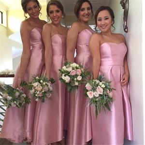 Nouveau Style Longue Blush Rose Robes De Demoiselle D'honneur 2017 Sexy Épaule De Thé Longueur Des Robes De Noce Robe De Demoiselle D'honneur Robe