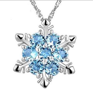 Joyería de moda azul cristal copo de nieve congelado flor 925 colgantes de collar de plata con cadena