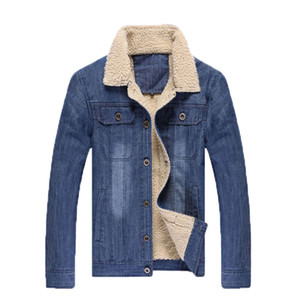 Wholesale- 2015 New Arrival Men's Coat casual jean Cotton-Padded Jacket Cowboy warm Hot Sell Fur Collar 3XL coat for men male Y0071