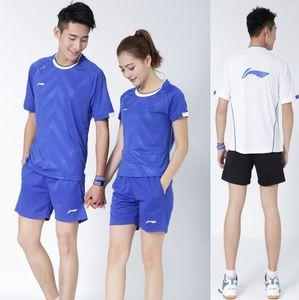 Li Ning Männer Frauen Badminton Wettbewerb Kleidung, 2017 All England Badminton Team-Uniformen Jersey, Futter Badminton Anzüge Hemden + Kurzschlüsse M-4XL