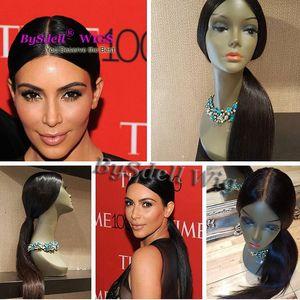 Celebrity Kim Kardashian Shiny Look dritto acconciatura parrucca piena del merletto sintetico parte libera parrucche piene del merletto per donne nere / bianche