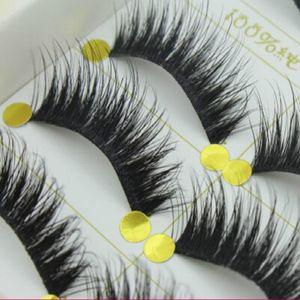 Venta al por mayor 5 pares de Maquillaje Handmad Natural Moda Pestañas Falsas Suave Ojo Lash Cosmético Envío gratis