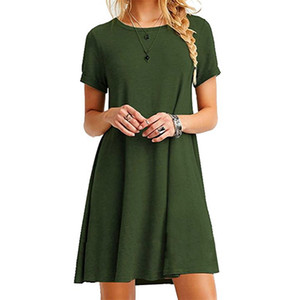 2019, Europe and America foreign trade explosion, short sleeve, large size, pure color dress, women's dress