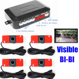 Visual Car Video Sensor de Estacionamento Reversa Assistência de Backup Sistema de Radar de Alarme Radar + 16mm Sensores Lisos 7 Cores, Som BIBIBI