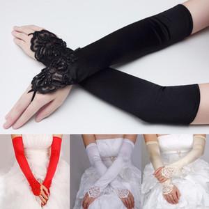 Siyah Beyaz Fildişi Beyaz Kırmızı Uzun Düğün Eldiven El Parmaksız Gelinler Için Kız Gelin Eldiven Saten Inci Kadınlar