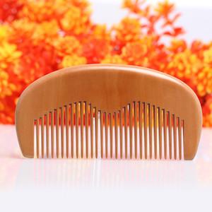 Beneficios al por mayor la salud de melocotón natural de madera peine peine de bolsillo Barba peine 11.5 * 5.5 * 1 cm